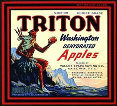 This fruit crate label was used on Triton Washington Dehydrated Apples, c. 'Packed by Valley Evaporating Co.' Crate labels were a frequent means of marketing fruit and veg Vintage Labels, Vintage Postcards, Vintage Ads, Vintage Travel, Vintage Images, Apple Boxes, Apple Crates, Fruit Crates, Apple Fruit