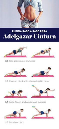 Ponte en forma con esta rutina de ejercicios para adelgazar la cintura. Más tips en nuestro artículo. | Ejercicios en casa para la cintura. #workput
