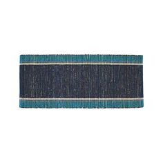 Quentin Blue Cotton 2.5'x6' Rug Runner   Crate and Barrel