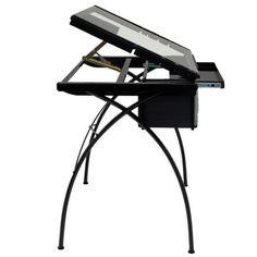 Futura Craft Station Black - Design Tafel met gehard veiligheidsglas