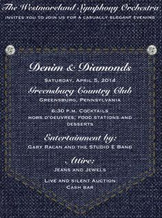 Denim and Diamonds party invitation, diamond studs on jeans