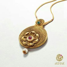 Crafted from gold, this intricately designed medallion coupled with the stone inlay and pearl detailing is truly an exquisite piece. Jewelry Shop, Pendant Jewelry, Fashion Jewelry, India Jewelry, Pendant Set, Women's Fashion, Gold Mangalsutra Designs, Gold Jewellery Design, Gold Jewelry Simple