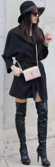 coat, hm, boots, guess, hat, vince, camuto, bag