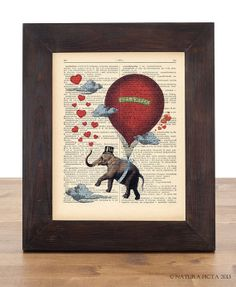 Flying elephant full of love in hot air balloon by naturapicta, $5.99