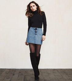 Reformation Denim Odin Mini Skirt with a Tie Front
