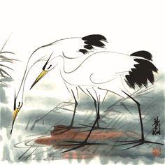 Pintura tradicional china fotos de animales dos grúas pintura del paisaje del arte en la lona cartel gigante blanco y negro fotografía arte(China (Mainland))