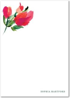 Charming Floral - Personal Stationery in Red Lantern or Camel | Hello Tenfold