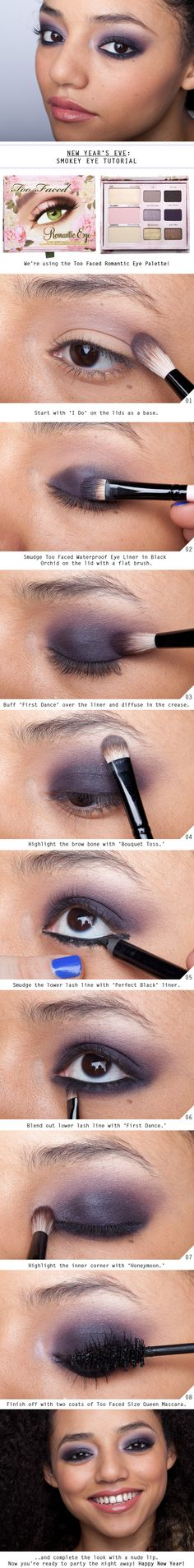 A Smokey Eye Tutorial Fit for New Year's Eve,very easyway to make smokey eyes for beginners