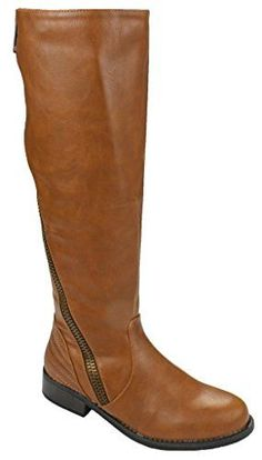 Forever Mango-21 Women's Winkle Back Shaft Side Zip Knee High Flat Riding Boots