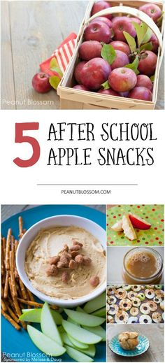 5 great ideas for using apples in after school snacks! Feed those hungry kids something they can really sink their teeth into while making sure they're getting a serving of fruit along the way.