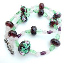 Wedding Cake, Bead Necklace, Lampwork, Molded Glass, Purple Green Pink, Artisan Bead Necklace