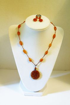 Beautiful!!! Art Deco Carnelian Necklace/Earring Set.  This Necklace and Earring Set features a hand carved pendant (1-1/8) a bright,