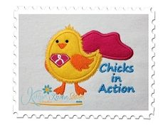 Chicks In Action Applique - 3 Sizes! | Cancer Awareness | Machine Embroidery Designs | SWAKembroidery.com Katelyn's Kreative Stitches