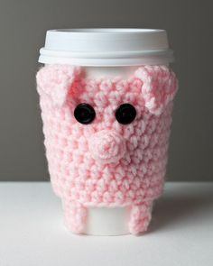 Crocheted Cuddly Pink Pig Coffee Cup Cozy by Cuddlefish Crafts. just in case i ever learn how to crochet (which may happen just for this). Crochet Coffee Cozy, Coffee Cup Cozy, Crochet Cozy, Filet Crochet, Crochet Crafts, Yarn Crafts, Crochet Projects, Coffee Cups, Drink Coffee
