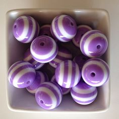 10 Count 20mm Purple Striped Bubblegum Bead-Chunky Bubblegum Bead Necklace-Bead-Necklace-20mm Beads-Acrylic-Resin-Gumball Beads-Chunky Beads