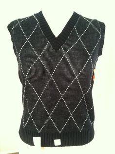 Vintage Black and White Diamond Sleeveless Sweater by PDeeVintage