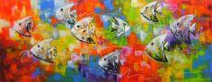 quadro pintado Peixes 40x100 Cod 980