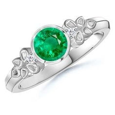 Round Emerald and Diamond Vintage Ring in White Gold