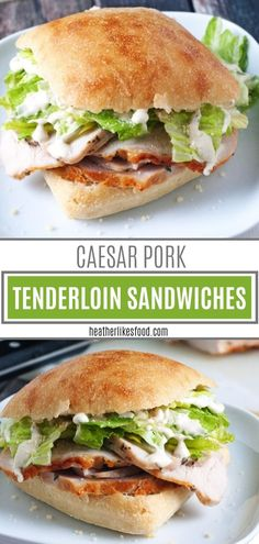 A savory and filling sandwich with tender and juicy lemon-garlic pork tenderloin. A savory and filling sandwich with tender and juicy lemon-garlic pork tenderloin! These Caesar Pork Tenderloin Sandw Pork Tenderloin Sandwich, Roast Beef Sandwich, Soup And Sandwich, Beef Tenderloin, Pork Roast, Roast Brisket, Pork Recipes, Lunch Recipes, Dinner Recipes