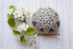 Crochet Stone Pattern, DIY, Lace Stone Cover Pattern, Rock Cozy Pattern, Lace Petals, Beach house decor, Tabletop decor, bowl element
