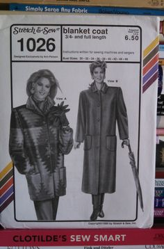 1990 Stretch & Sew Designer Pattern 1026-Misses' Blanket Coat-Lined and Unlined-Bust Size 30 thru 46-3/4 and Full-Lengths-UNCUT by PaperDiversities on Etsy