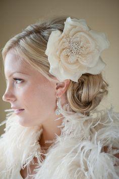 Bridal Silk Flower Hairclip Fascinator Head by PowderBlueBijoux, $59.00