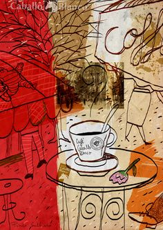 Coffee table in the street. Ilustration for coffee's company Cafés Caballo Blanco
