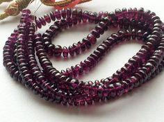 Garnet Rondelle Beads Natural Garnet Plain Smooth by gemsforjewels