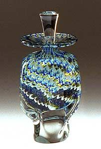 """Wave Perfume Bottle"" Art Glass Perfume Bottle Created by Mary Mullaney and Ralph Mossman  $185"