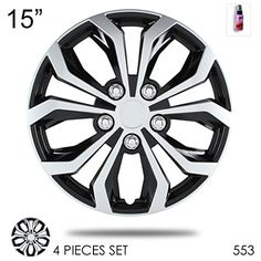 New Design 15 inch ABS Plastic Hubcaps Spyder Performance Black and Mat Silver Wheel Covers Hub Cap Full Lug Skin Set 553 with 2 oz Travel Size Purple Slice >>> Click on the affiliate link Amazon.com on image for additional details.