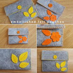 Keeping it Real: Embellished felt pouches Felt Phone Cases, Felt Case, Felt Pouch, Felt Diy, Handmade Felt, Small Sewing Projects, Sewing Crafts, Felt Crafts Kids, Felt Gifts