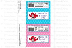 Printable DIY Blue and Pink Little Mermaid Ariel Theme Personalized Happy Birthday Chocolate Bar Wrapper by DIYprintableparties, $5.00