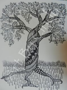 Zentangle Style Tree  ~ 11 x 14 signed print ~ Hand embellished pencil shading *Watermark not on original artwork