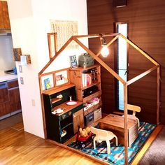 Plans to Build a Playhouse Kids Play Spaces, Kids Play Kitchen, Cubby Houses, Play Houses, Brick Wall Decor, Build A Playhouse, Kids Corner, House Rooms, Kids Furniture
