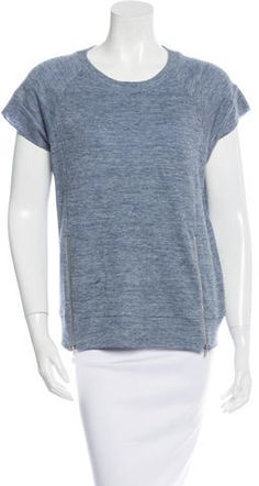 J Brand Short Sleeve Linen Sweatshirt J Brand, Hoodies, Sweatshirts, Crew Neck, Stylish, Sleeve, Sweaters, Blue, Tops