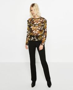 Image 1 of PRINTED BLOUSE WITH FRILL from Zara