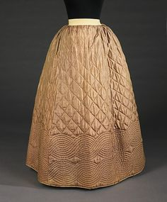 Quilted Petticoat - 1840-55 silk,cotton,wool    Brooklyn Museum Costume Collection at the MET