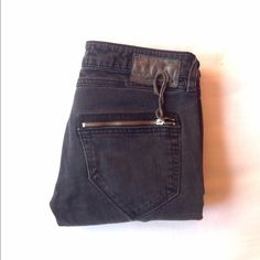 DIESEL skinny jeans Perfect, rock star, with 2 zippers in the back. So cool. Inseam appx 32, rise appx 7. Dark grey Diesel Jeans Skinny