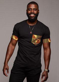 Seun Men's African Print T-Shirt with Pocket (Yellow/Green/Copper) - . - Seun Men's African Print T-Shirt with Pocket (Yellow/Green/Copper) – - African Fashion Designers, African Men Fashion, Africa Fashion, Ankara Fashion, Tribal Fashion, Mens Fashion, African Women, African Attire For Men, African Wear