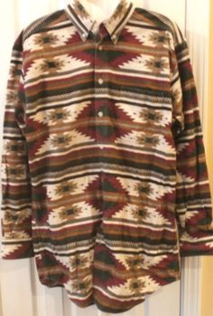 Warm clothes! Woolrich flannel southwestern Indian blanket Aztec design western shirt.size large in 100% cotton. Gift idea for men on your list. They'll be nice and toasty in this shirt! #WarmCozy