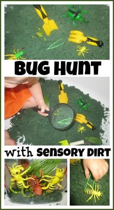 Indoor Bug Hunt with dirt dough sensory dirt- no germs, easy clean up with virtually no mess, and TONS of fun on a day stuck indoors!