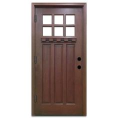 Steves & Sons 36 in. x 80 in. Craftsman 6 Lite Stained Mahogany Wood Prehung Front Door M3306-6-CT-MJ-6ORH at The Home Depot - Mobile