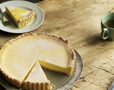 Lemon and mascarpone tart with lime syrup