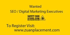 Referral Walkin Drive for SEO/ Digital Marketing Trainees & Executives by Zuan Placement Company Name: Safety Sign Store Wanted: SEO / Digital Marketing Trainees & Executives Experience: Freshers/ Experienced Roles:     Creating Brand Value     Promoting Websites through various Medium     Increasing Inbound Leads For Complete Job information, register below: http://www.zuanplacement.com/job/seo-digital-marketing-executives-wanted-in-safety-sign-store/ #Digitalmarketing #SEO #Interview