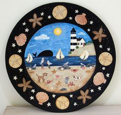 Beach Folk Art Hand Painted Plate with by RavensBendFolkArt