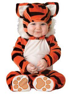 Disfraz Tigre para bebé - Premium: Este disfraz de Tigre para bebé está formado por un traje naranja con rayas negras que se cierra con botones en la entrepierna y con velcro en el cuello. Los pies tienen...