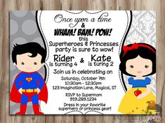 SUPERHERO and PRINCESS Double Birthday por KawaiiKidsDesign en Etsy