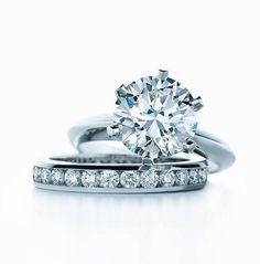 Tiffany & Co. Tiffany® Setting Engagement Ring with Diamond Band Ring Ring, Bling Wedding, Wedding Bands, Wedding Set, Wedding Ring, Wedding Jewelry, Dream Wedding, Wedding Ideas, Glamour Moda