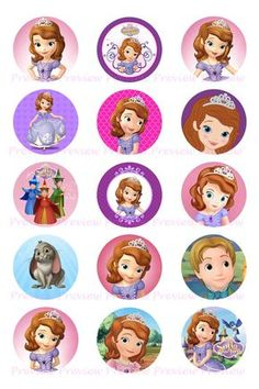 Sofia The First Bottle Cap Images Hair Bow Center Princess Sofia Birthday, Sofia The First Birthday Party, 2nd Birthday, Bottle Cap Art, Bottle Cap Images, Sofia The First Cake, Royal Icing Templates, Princess Cupcake Toppers, Princesa Sophia