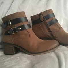 Franco Sarto booties Tan leather side zipper ankle boots. Very comfortable.  Great condtion Franco Sarto Shoes Ankle Boots & Booties